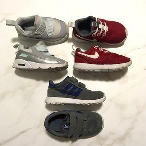 Bundle of 3 Nike Adidas Kids Sneakers Size 6